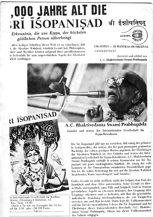 Back To Godhead Magazin Hamburg 1972